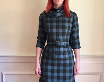 Sz 4 Blue & Green Plaid 1960s Mad Men-style Wool Dress with Scarf by Jonathan Logan