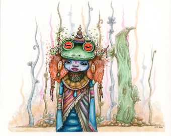 Frog Mage 6x7 inch Original Watercolor Painting