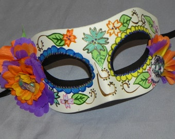 Multi Colored Day of the Dead Mask with Skull Accents - Halloween Mask
