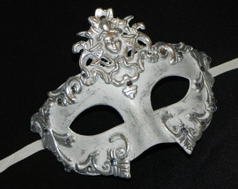 White and Silver Roman Emperor Halloween Mask - Men's Mask