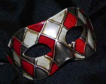 Off White, Red and Silver Harlequin Mask