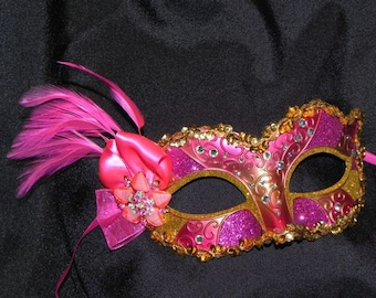 Masquerade Mask in Shades of Hot Pink and Gold