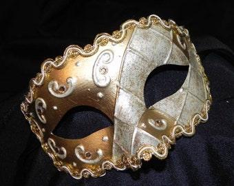 Cream and Gold Harlequin Mask