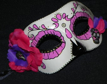 Purple, Pink and Green Day of the Dead Mask with Skeleton Accent - Halloween Mask