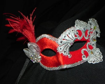 Lace and Feather Masquerade Mask in Red and Silver