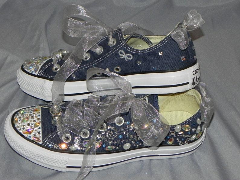 Deporte Plata Decoración Y Zapatillas Zapatos Novia De Converse Marino Azul Y6by7fg