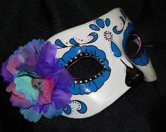 Purple, Teal and Pink Day of the Dead Mask with Skeleton Accent - Halloween Mask