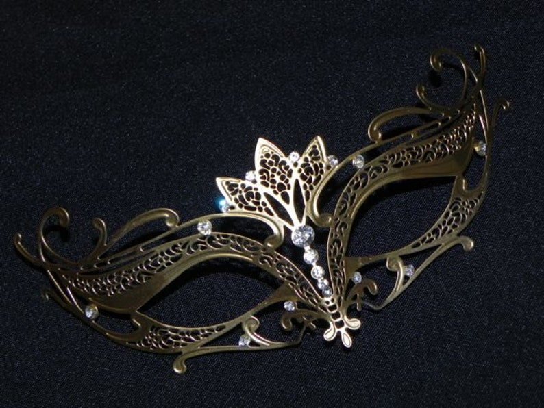 Gold Masquerade Mask Flora Metallic Filigree Masquerade Mask