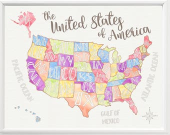 Us Map With State Names. Printable Map Of The United States With ...
