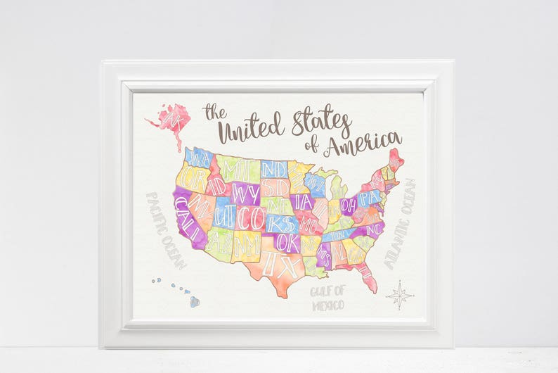 US Map - United States of America – Playroom Art – Classroom Art -  Geography – Maps – Pastel Colors – Fun Map – States – State Names