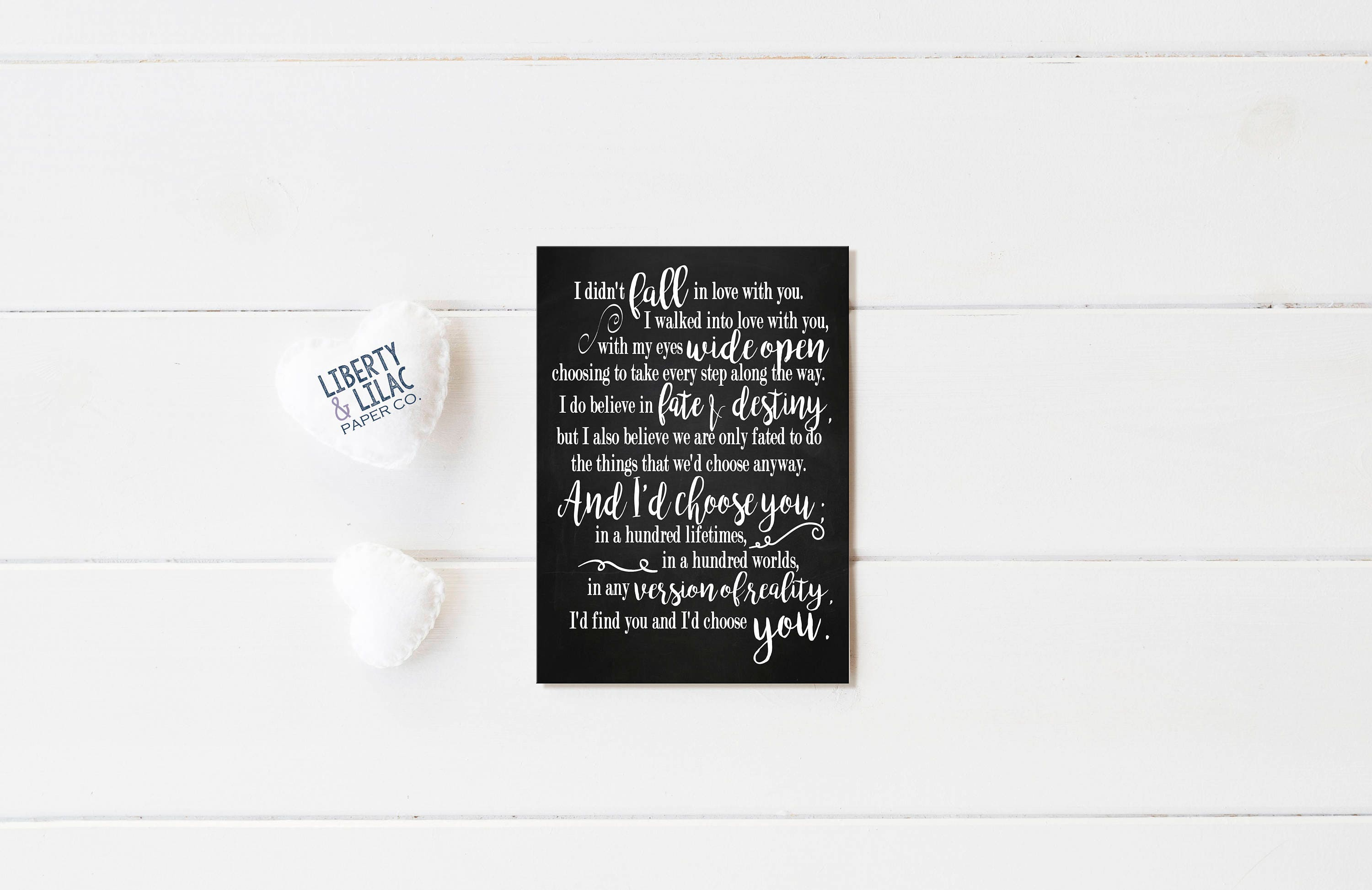 Love Quotes I Didnt Fall In Love With You White Etsy