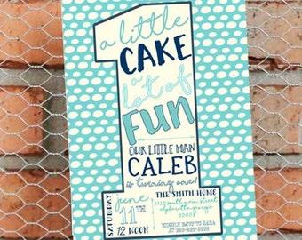 Boy First Birthday Party Invitation - Aqua Blue and White - Boy First Birthday Party Invitation - Customize - Printable - 5x7