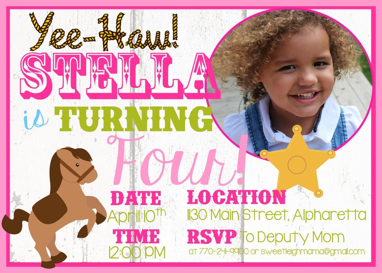 Cowgirl Birthday Western Themed Birthday Party Invitation | Etsy