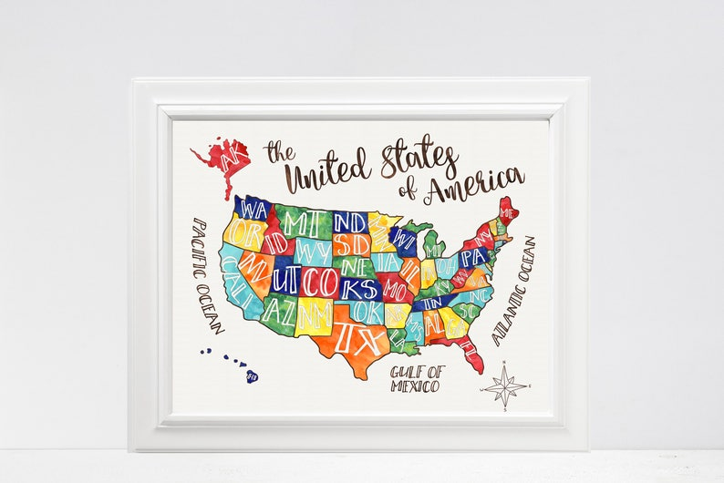 US Map - United States of America – Playroom Art – Classroom Art -  Geography – Maps – Primary Colors – Fun Map – States – State Names
