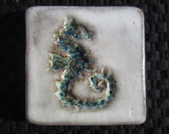 Ceramic STAMPED SEAHORSE TILE - any two colors