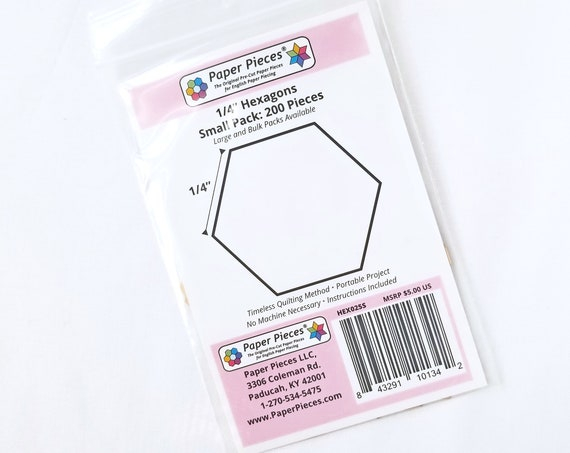 Hexagon EPP Paper Pieces .25 inch Pack 200 Pieces English Paper Piecing