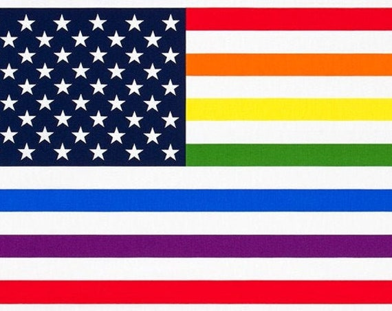 "Pride by Robert Kaufman Fabrics - Rainbow American Flag 23"" Panel - By the Panel - 100% Cotton - gay pride flag fabric, LGBT pride fabric"