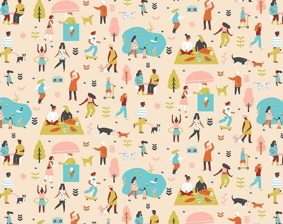 Perfect Day by Naomi Wilkinson for FIGO Fabrics - By the Yard - 100% Cotton - picnic fabric, park fabric, dog fabric, dancing fabric