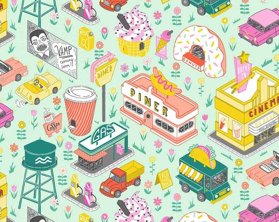 American Road Trip by Jacqueline Colley for FIGO Fabrics - Drive In in Green - By the Yard - 100% Cotton - taco truck, diner, donuts, cars