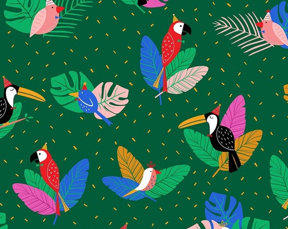 Tropical Jammin' by Black Lamb Studio for FIGO Fabrics - By the Yard - 100% Cotton - green, birthday, bird, toucan, parrot, monstera leaf