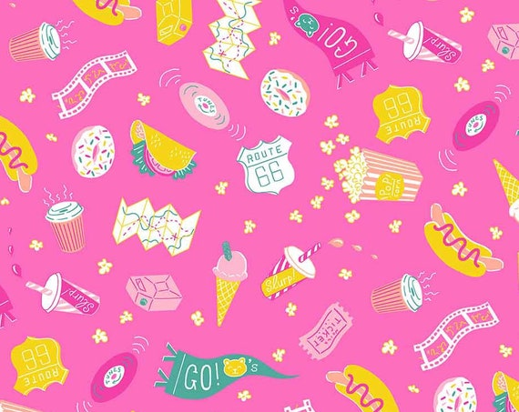 American Road Trip by Jacqueline Colley for FIGO Fabrics - Snacks in Pink - By the Yard - 100% Cotton - hot dog, taco, coffee, ice cream