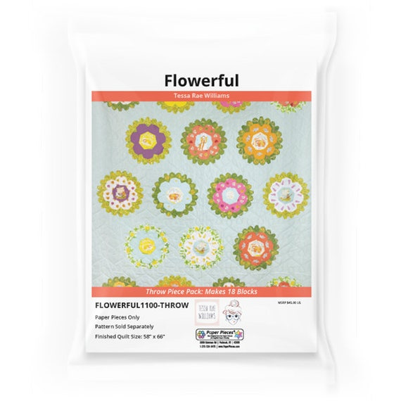 Flowerful by Tessa Rae Williams EPP kit - Throw/18 Blocks, English Paper Piecing papers, EPP pattern kit, English Paper Piecing kit, EPP set