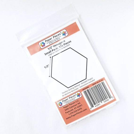 Hexagon EPP Paper Pieces .5 inch Pack 125 pieces English Paper Piecing