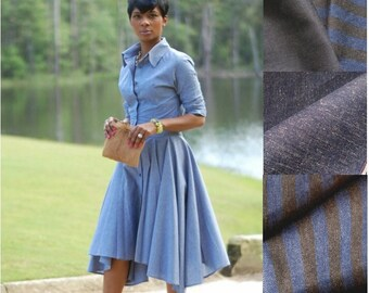 Classic Denim Circle Wrap Skirt. Made to Order. Your size. Your color.