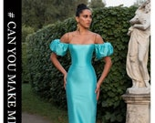 Beautiful Satin Evening Dress with dramatic puff sleeve. Alternative Modern Bridal Reception Dress. Custom Colors. Made to Order. SM.- XXL