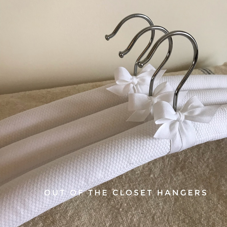 Padded Hangers White Pique Hangers Clothing Hangers White image 0
