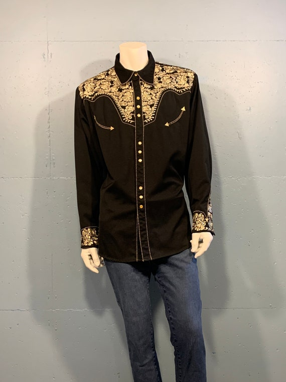 90s Scully black gold brocade western shirt embroi
