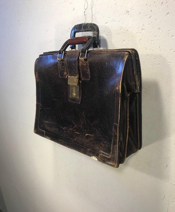 70s KORCHMAR briefcase dark brown attache tobacco