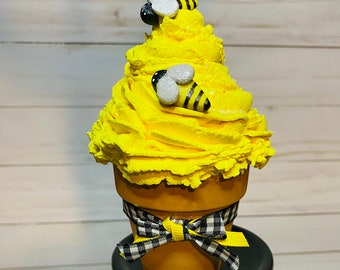 Bee fake cupcake-faux bee cupcake-bee tiered tray decor-bumble bee decor-bee decor for tiered tray