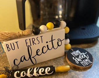 But first cafecito-cafecito wood sign-small cafecito wood sign-coffee decor-coffee bar decor-coffee lover gift-tray decoration-coffee bar