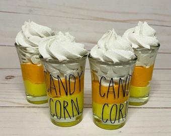 Fake  candy corn dessert-faux candy corn-candy corn decor-candy corn tiered tray-Halloween tiered tray decor-candy corn mini glass dessert