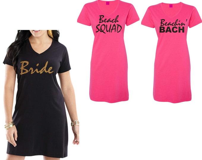 b58aa30aad5fc BRIDAL COVERUPS & SLEEP. Tshirt Dress Bridesmaid / Women Bridal Party  shirts - set of 5, 6, 7