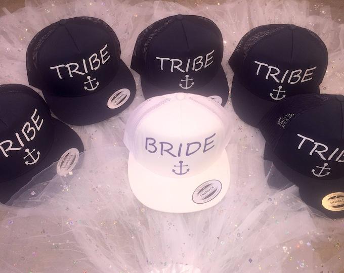 c414c76be2892 Bride and Tribe Baseball Caps . Nautical themed bachelorette . Bride  glitter hats . Bridesmaid caps