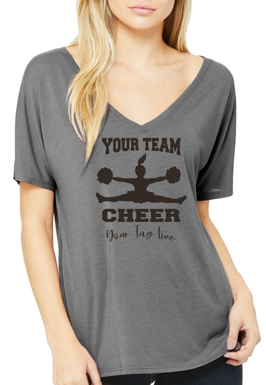 7d70c34a0bc3 Cute cheer mom shirt / Deep v neck flowy Cheerleading shirt / Cheer t ...