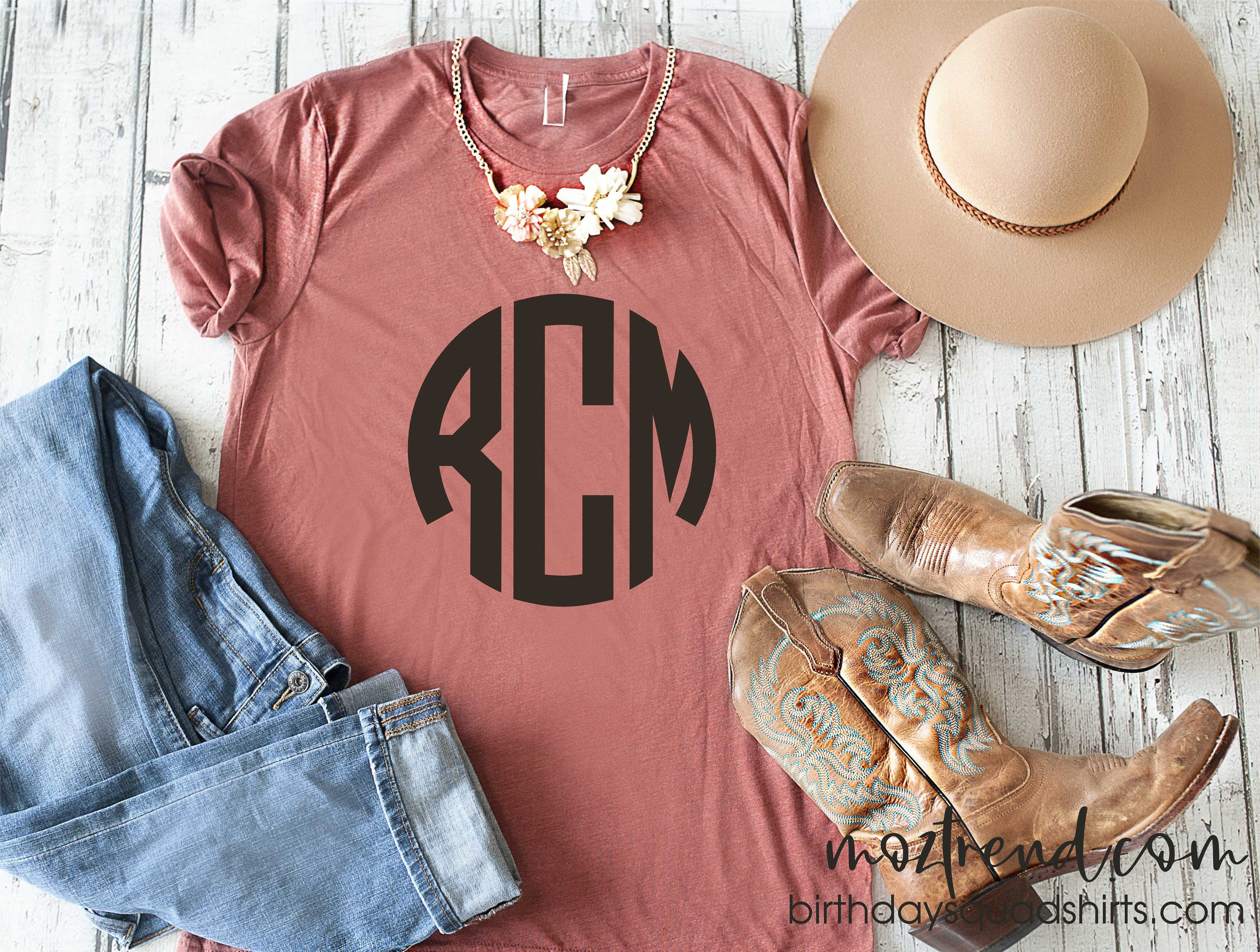Custom Monogram Shirt Cute Three Letter Big Monogrammed T Shirt