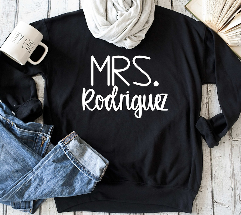 ced0a1895 Future last name sweatshirt / Bride Sweatshirt / Mrs custom   Etsy