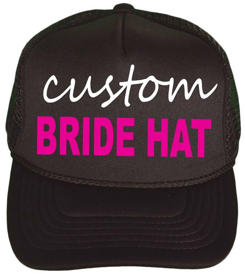 Snap Back Bridesmaid Hat Personalized Bride to Be hat- black hot pink, Custom Bachelorette Trucker Hats Bachelorette Party Favors
