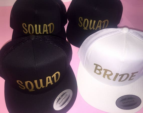 Customized bachelorette hats.  bridesmaid trucker hats.  brides mom - brides aunt - gold foil bachelorette party caps - back , white , pink