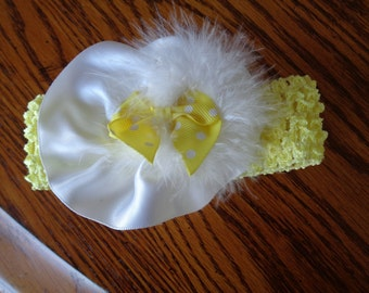 Infant headband in yellow