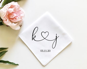 personalized handkerchief, wedding handkerchief, initials and heart hankie, gift from bride to groom, mother of the bride gift