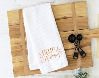 hello autumn kitchen towel, autumn kitchen towel, Thanksgiving kitchen towel, fall decor, hostess gift, housewarming gift