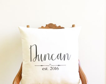 second anniversary gift personalized wedding gift for couples cotton anniversary gift family name pillow cover farmhouse pillow wedding gift