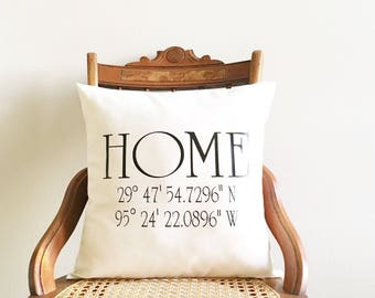 housewarming gift, coordinates pillow cover, wedding gift, longitude and latitude pillow cover, personalized pillow wedding, newlywed gift