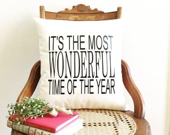 It's the most wonderful time of the year Christmas pillow cover, farmhouse Christmas pillow cover, Christmas decor, farmhouse Christmas