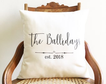 personalized wedding date pillow 2nd anniversary cotton anniversary gift family name pillow cover bridal shower wedding gift farmhouse decor