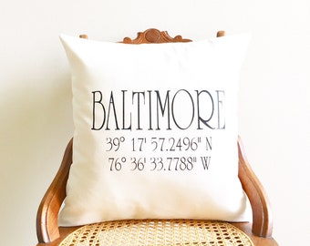 wedding pillow cover coordinates pillow cover new home gift longitude latitude pillow cover wedding gift housewarming gift gps pillow cover